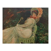 Mario Pezilla French Art Nouveau Color Magazine Illustration Beautiful Girl on Garden Seat 1909