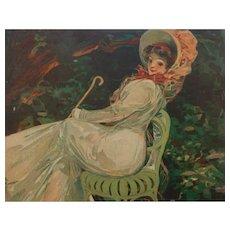 Mario Pezilla French Art Nouveau Color Magazine Illustration Beautiful Girl on Garden Seat 1909