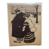 Pierre Moreau French Satirical Illustration Black and White C.1905 Couple on Street