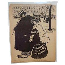 Pierre Moreau French Satirical Illustration Black and White C.1905 Couple on Street