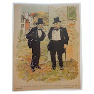 Charles Huard French Color Magazine Illustration Two Gentlemen Talking in Street C.1905