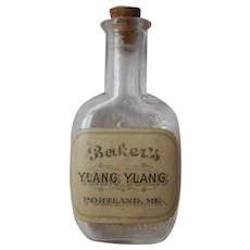 Miniature Glass Perfume Flask Bakers Ylang Ylang Original Paper Label