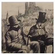 Charles Huard French Black and White Magazine Satire Comic Illustration Men on Bench C.1905