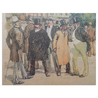 Charles Huard Color Magazine Satire Comic Illustration Men on Busy Street C.1905
