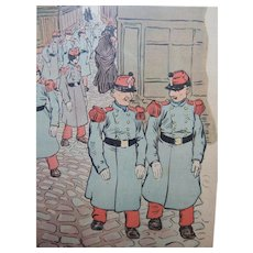 Charles Huard French Color Magazine Satire Comic Illustration Soldiers C.1905