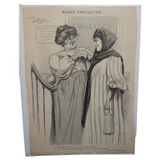 French F. Gottlieb Illustration Two Woman Friendly Chat C.1905