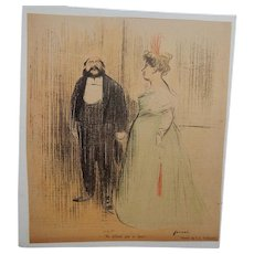 Jean Louis Forain French Color Satirical Illustration High Society Couple C.1905