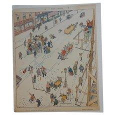 Fabien Fabiano French Color Magazine Cartoon Illustration People Falling in Snowy City Street C.1905