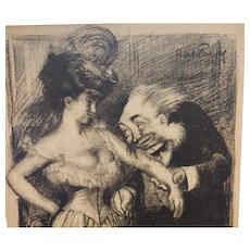 Abel Faivre French Black and White Magazine Satire Comic Illustration Doctor and Pretty Girl  C.1905
