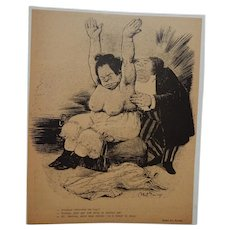 Abel Faivre French Black and White Magazine Satire Comic Illustration Man Measuring Big Breasted Woman for Bra C.1905