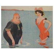 Fabien Fabiano French Cartoon Illustration Bathing Beauty C.1910