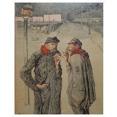Ricardo Flores French Satirical Illustration Night Street Scene C.1905