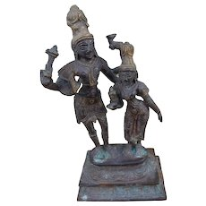 Antique Indian Hindu Bronze or Brass Religious Statue with 2 Figures