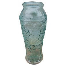 Antique Large Aqua Glass Pickle Jar with Roses Flowers C.1880