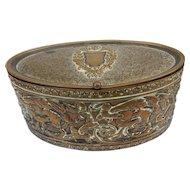 Antique Brass Embossed Jewelry Box Casket C.1890