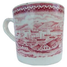Antique Staffordshire Child's Cup Mug View of  San Francisco Bay - American Historical China
