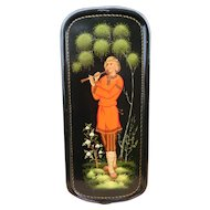 Russian Hand Painted Plaque Toleware Tray Young Man with Flute