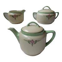 KPM Silesia Arts & Crafts Porcelain Teapot Set with Sugar and Creamer