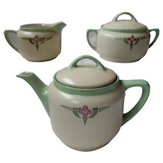 KPM Silesia Arts & Crafts Porcelain Teapot Set with Sugar and Creamer