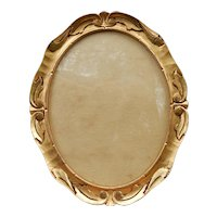 Small Oval Arts & Crafts Hand Carved Gold Gilt Frame C.1910