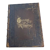 Pictures and Painters Large Antique Leather Bound Book Illustrated Engravings 1869
