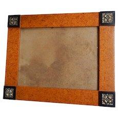 Vintage Corner Block Frame with Black Corners and Metal Silver Roses