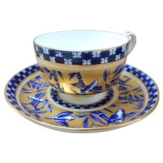 "Antique Coalport Cup and Saucer - Blue Bird and Bamboo or ""Japanese Grove"" Y62"