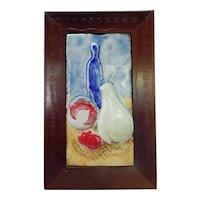 Mid Century Modern Italian Ceramic Tile Plaque Fruit Still Life Vintage Pottery C.1960