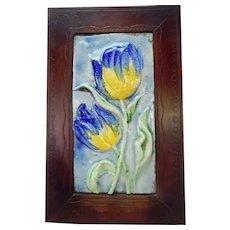 Mid Century Modern Italian Ceramic Tile Plaque Tulip Flowers Vintage Pottery C.1960
