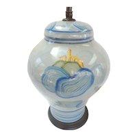 Cantagalli Italian Pottery  Lamp Italy C.1920 Vintage