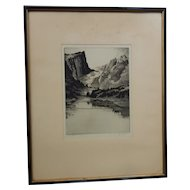 Gerry Peirce Western Landscape Drypoint Etching Dream Lake, Colorado Pencil Signed C.1930