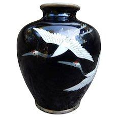 Sato Japanese Black Cloisonne Vase with Cranes Signed