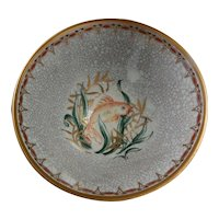 Dahl Jensen DJ Copenhagen Porcelain Bowl with Hand Painted Fish Crackleware Crackle Glaze Denmark