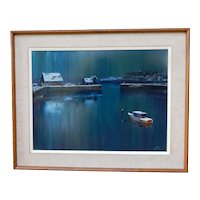 Mid Century Modern Scandinavian Oil Painting by Per-Olaf Nord Nighttime Winter Wharf Scene - Swedish
