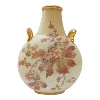 Rudolstadt Germany Porcelain Hand Painted Vase with Flowers C.1915