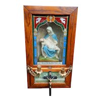 Antique Religious Shadowbox Jesus & Mary Pieta Last Rites Viaticum Cabinet or Sick Call Set