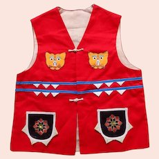 Chinese Child's Vest Embroidered Cats Spiders Bugs Vintage