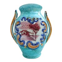 Italy Pottery Vase Hand Painted Landscape Scenes Signed Vintage