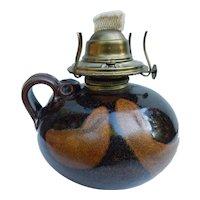 Studio Pottery Oil Lamp Signed Mystery Artist Stoneware