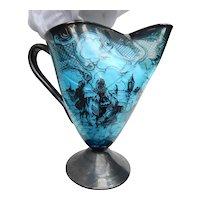 Blue Venetian Silver Deposit Murano Glass Pitcher Hand Blown Vintage