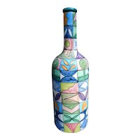 "Italian Pottery Bottle Mid Century Modern Signed ""Liares"" Hand Painted Italy"
