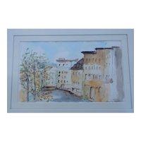 Philippe Hautenauve Original Watercolor Painting Signed