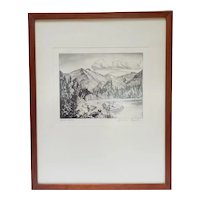 Lyman Byxbe Drypoint Etching Bear Lake, Colorado pencil signed