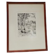 "Lyman Byxbe Drypoint Etching ""Longs in Autumn"" Colorado pencil signed"