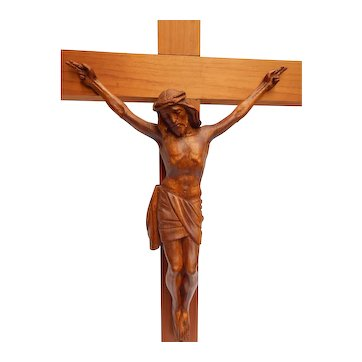 "Large 24"" Wood Crucifix Hand Carved Jesus Christ Wall Hanging Vintage"
