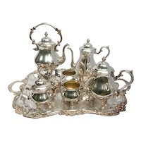 7 Piece Tea Set Service Vintage Silverplate Sheridan Co.