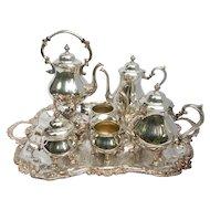 7 Piece Tea Set Service Vintage Silverplate Sheridan Co.