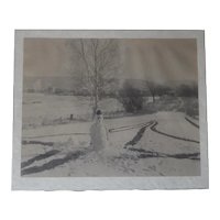 Unusual Large Original Snowman Photo c.1930