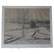 Unusual Large Original Snowman Photo c.1930