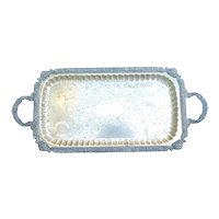 "Silver Plate Footed Tray with Handles 24 1/2"" x 11"""